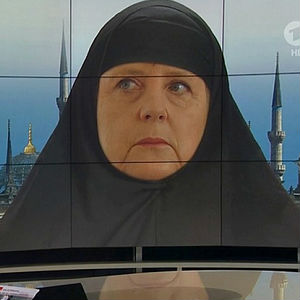 Goodwill not welcomed everywhere as German TV show depicts 'Muslim Merkel' image