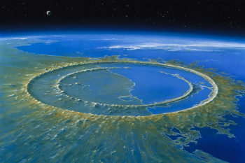 An artist's depiction of the Chicxulub crater, which is the site of the impact that wiped out the dinosaurs.