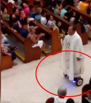 Filipino priest chastised for riding hoverboard during worship