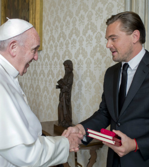 Leonardo DiCaprio meets with Pope Francis
