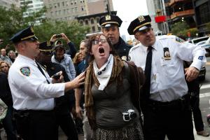 An Occupy protester is arrested during the Occupy Wall Street protests in New York. The long-running demonstrations ended as the weather turned cold.