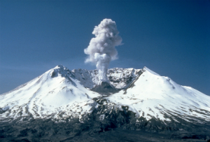 Mt. St. Helens steams in this image showing the new dome within the crater.