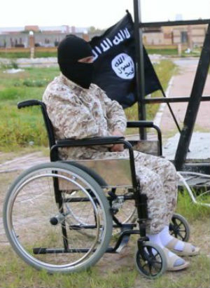 'Isil runs a normal state ... where there are disabled people and so on': Man shot then crucified in public square by wheelchair Jihad