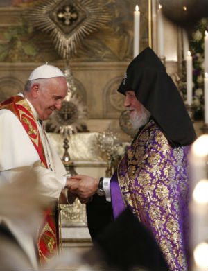'Let us make up for our shortcomings in harmony and charity': Pope Francis to Catholicos Karekin II