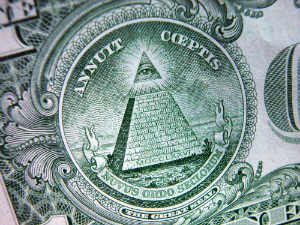 The dollar bill is rumored to contain Illuminati symbols such as the pyramid.