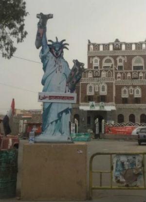 Anti-American graffiti covers Yemen capital