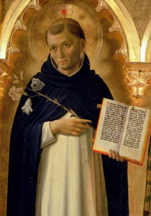 A rendering of St Dominic, the great preacher, pointing to the Gospel