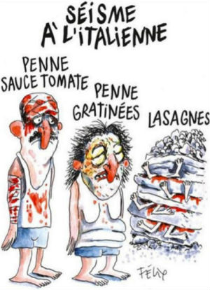Satire magazine Charlie Hebdo under fire for pasta-themed quake images