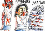 Image of Charlie Hebdo shows victims of quake as tpyes of pasta (Charlie Hebdo).