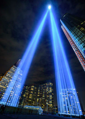 Are the angels sending a message? Miraculous apparition found in the light of 9/11 tribute (PHOTO)