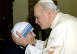 Image of John Paul II met St. Mother Teresa.
