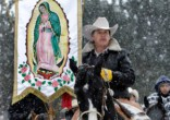 Image of Pilgrims travel to the Shrine of Our Lady of Guadalupe to celebrate the Virgin Mary.