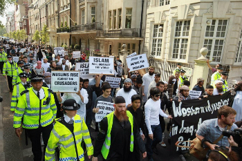 Muslims march in London. The latest demonstration is one of several calling for Sharia law and the establishment of a Caliphate.