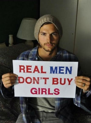 Ashton Kutcher spoke on behalf of sex-trafficking victims and other innocents.