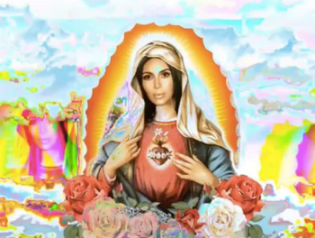 The offending image posted by Kim Kardashian. However, there is one thing more offensive to the Virgin Mary than this image, and that is my heart and yours, if they remains unconverted. (Mark 12:28-34)