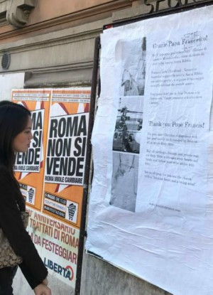 Pro-Pope Francis flyers were posted in Rome (Love is Tolerance).