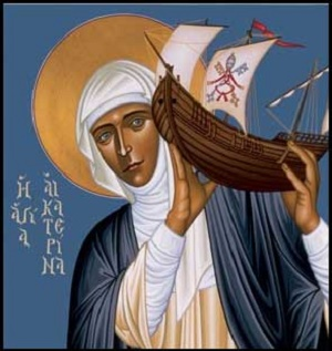 St Catherine of Siena holding up the Church