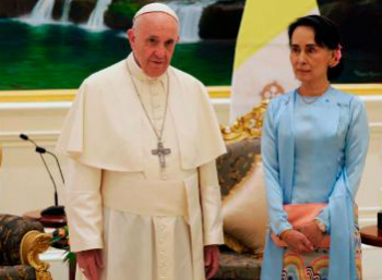 Pope Francis with Aung San Suu Kyi.