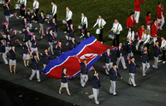 North Korean athletes march under their own banner in the 2016 Olympics. In a few weeks, they will march under a unified banner with South Korea.