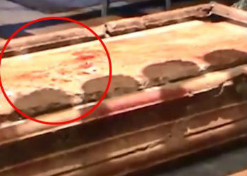 Is this blood on Christ's tomb, or something else?