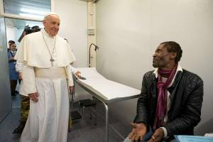 Pope Francis visits the poor at mobile clinic in St Peter's Square