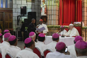 Pope Francis with Madagascar's bishops