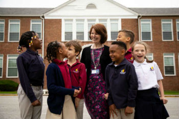 Principal Claire Dant with students at Bethel Christian Academy in Savage Maryland