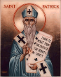 Image of Saint Patrick in blue vestments.