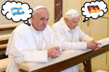 Image of Pope Emeritus Benedict and Pope Francis are praying. Who are you praying for? Team Benedict or Team Francis?