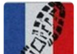 Image of Islamic State, along with other sick individuals and groups, are offering a transparent overlay of the French tricolors - with a muddy boot footprint, to show their support for last week's terrorist attacks in Paris.