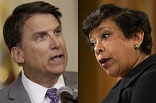 Image of Federal Attorney General Loretta Lynch and North Carolina Governor McCrory