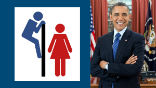 Image of Obama's policy opens restrooms to perverts who want access to victims in restrooms.