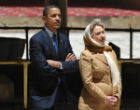 Image of Secret Muslim Obama visits a mosque with Felon-in-Chief, Hillary Clinton.