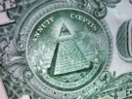 Image of The dollar bill is rumored to contain Illuminati symbols such as the pyramid.