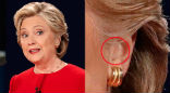 Image of Was Hillary Clinton still using a hearing device or something else during the debate?