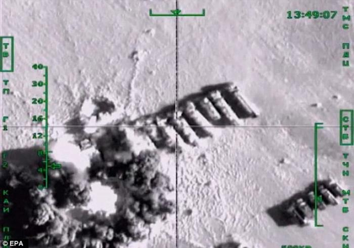 ISIS oil tankers, conveniently lined up for the bombers.
