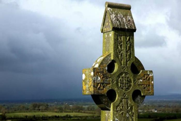 Celtic Cross on the hill at Cashel, Tipperary, Ireland.