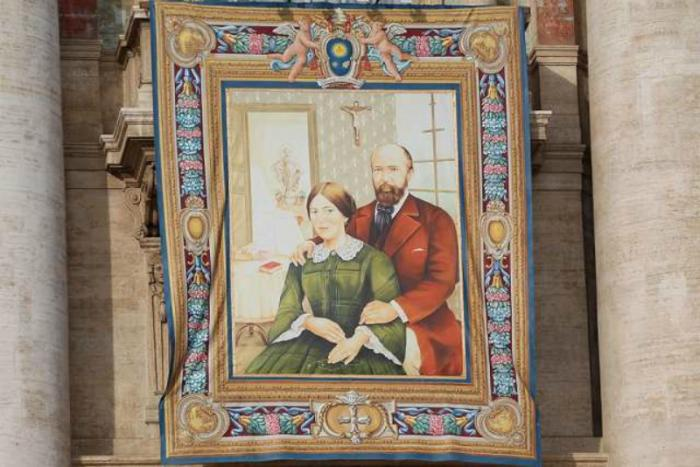 A Vatican tapestry of Louis and Zelie Martin, who were canonized in St. Peter