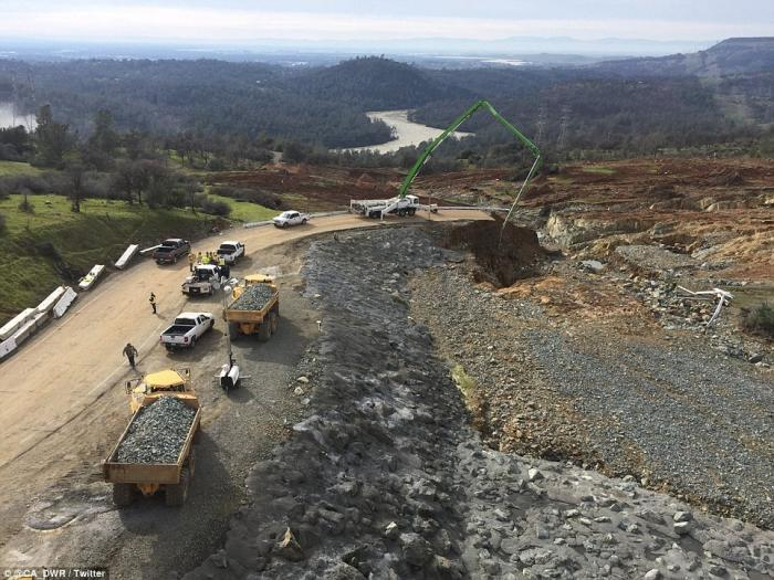 A view from above the spillway towards Oroville in the distance.
