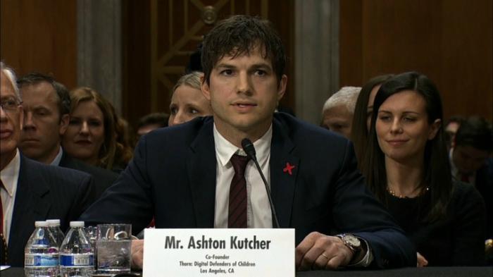 Kutcher spoke on behalf of victims around the world.