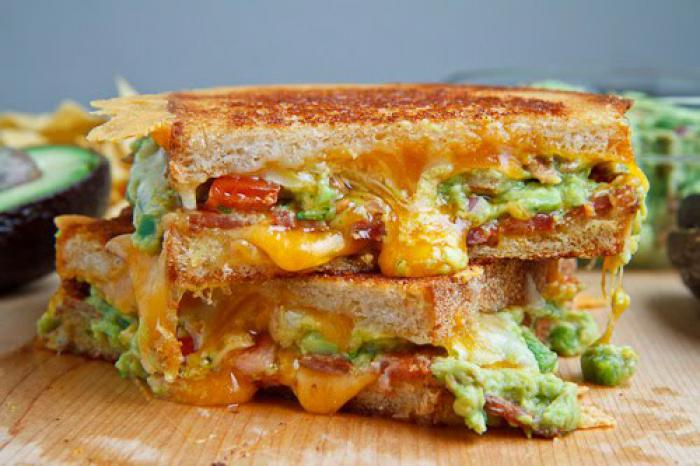 Bacon and Guacamole Grilled Cheese Sandwich