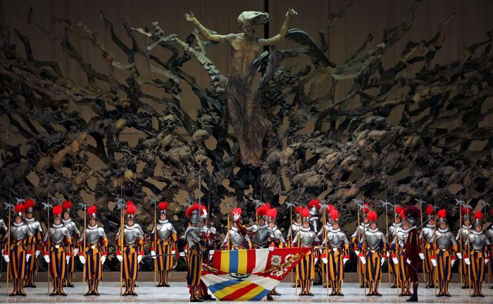 """""""The Resurrection"""" sculpture at the Vatican, depicts Jesus rising out of the crater of a nuclear blast, taking souls up to heaven."""