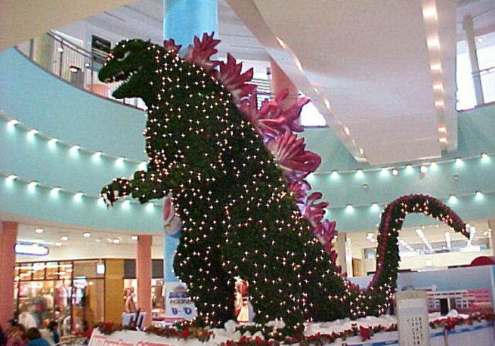 Godzilla-shaped Christmas tree.
