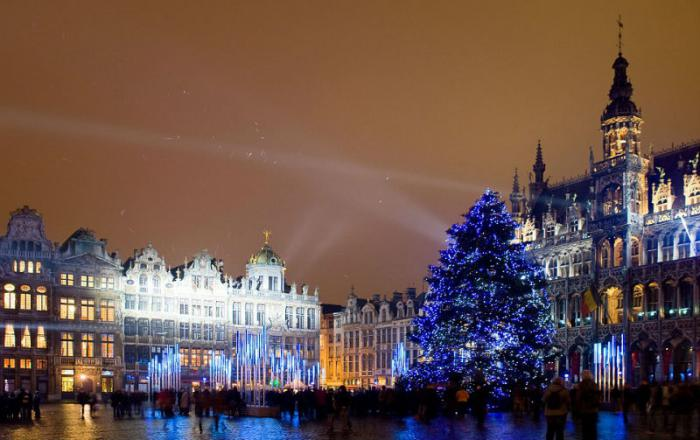 The Christmas tree at Grand Place in Brussels stuns.