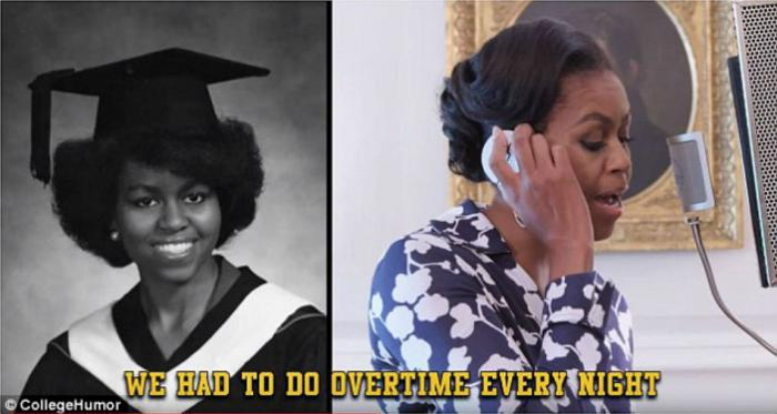 The First Lady sang about the work required to earn a degree.