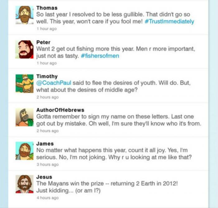 Biblical character tweets.
