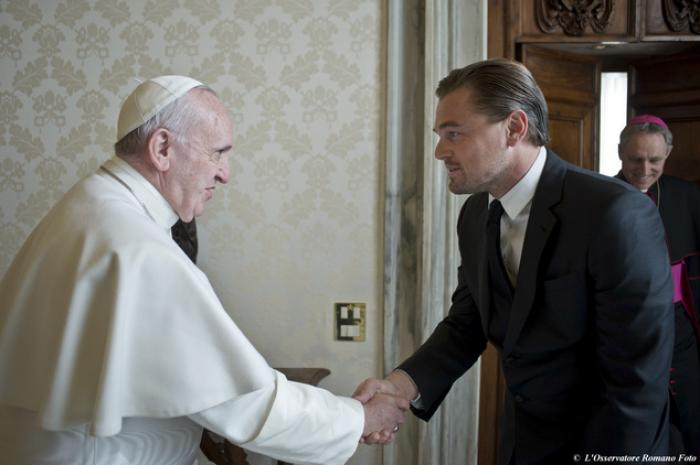 Leonardo DiCaprio meeting with Pope Francis