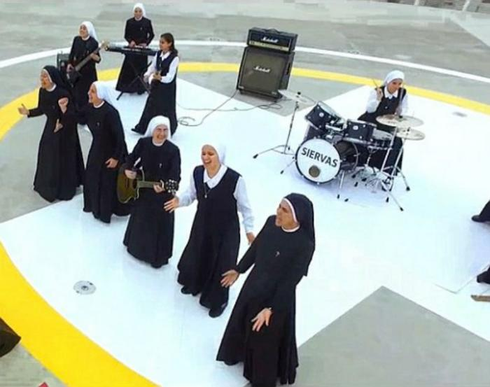 Nuns rock out for Pope Francis.