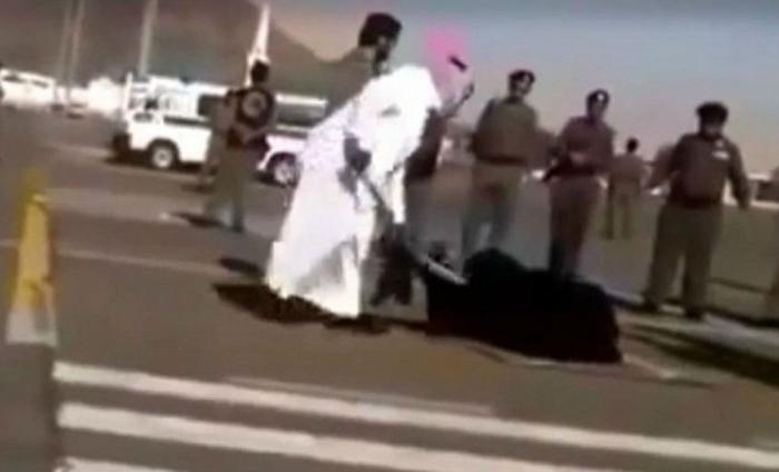 Woman beheaded in the street.