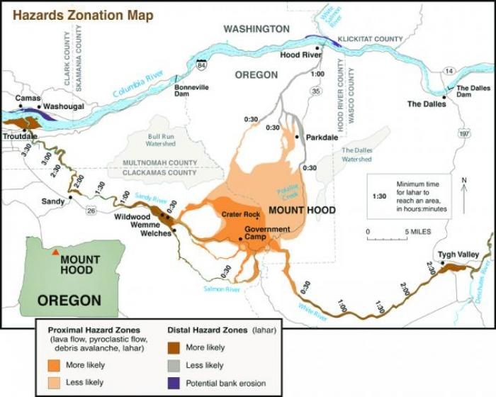 A risk map for eruptions on Mt Hood from any face direction. Note that the Bull Run Watershed is nearby to Mt Hood. This watershed, along with the large Bull Run Lake, provides the bulk of clean water for the city of Portland Oregon.